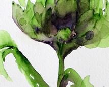 Artichoke Watercolor, Modern Botanical Art Print, Original Kitchen Art, Large Artichoke Print