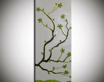 Zen decor, Zen Flowers, zen wall art, zen painting, Large Abstract Flowers,Blossom Tree, Painting Thick Texture, gold green painting, gift