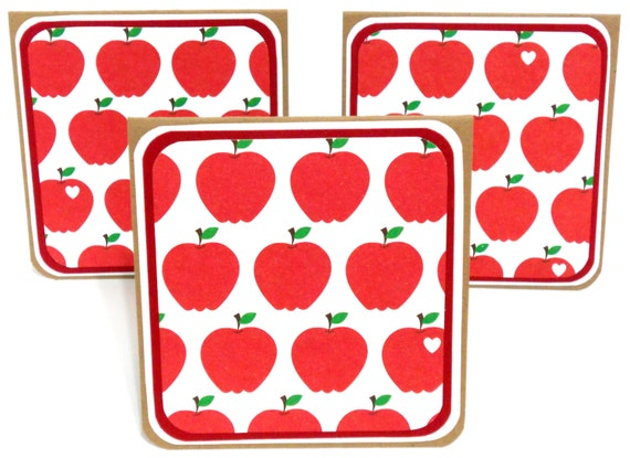 Apples Mini Notecards Set of 6: 3 x 3 in.