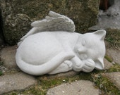 Cat Angel, Concrete Life Size Pet Kitty Statue Memorial, Cement Headstone Cat Statues, Cat Angel Statue, Pet Cat Memorial, Cat Grave Marker.
