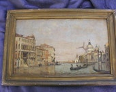 RESERVED for Gr8Exp//////////Venetian Canal Scene 19th century oil painting