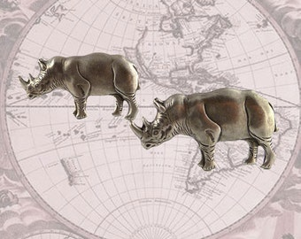 Cufflinks Neo Victorian Rhino Safari Cuff Links Vintage Inspired Antique Silver Rhinoceros Cuff Links