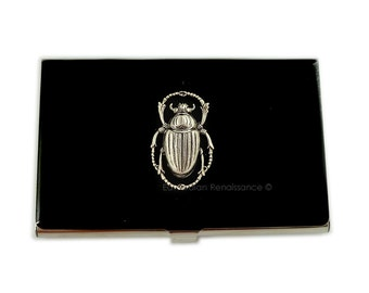 Metal Card Case Steampunk Metal Wallet Scarab Egyptian Beetle Gothic Victorian Business Card Holder Id Case