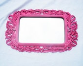 CLEARANCE Hollywood Regency Mirror: Vintage HOT PINK mirror, pink wall mirrors art deco pink decor ornate decor