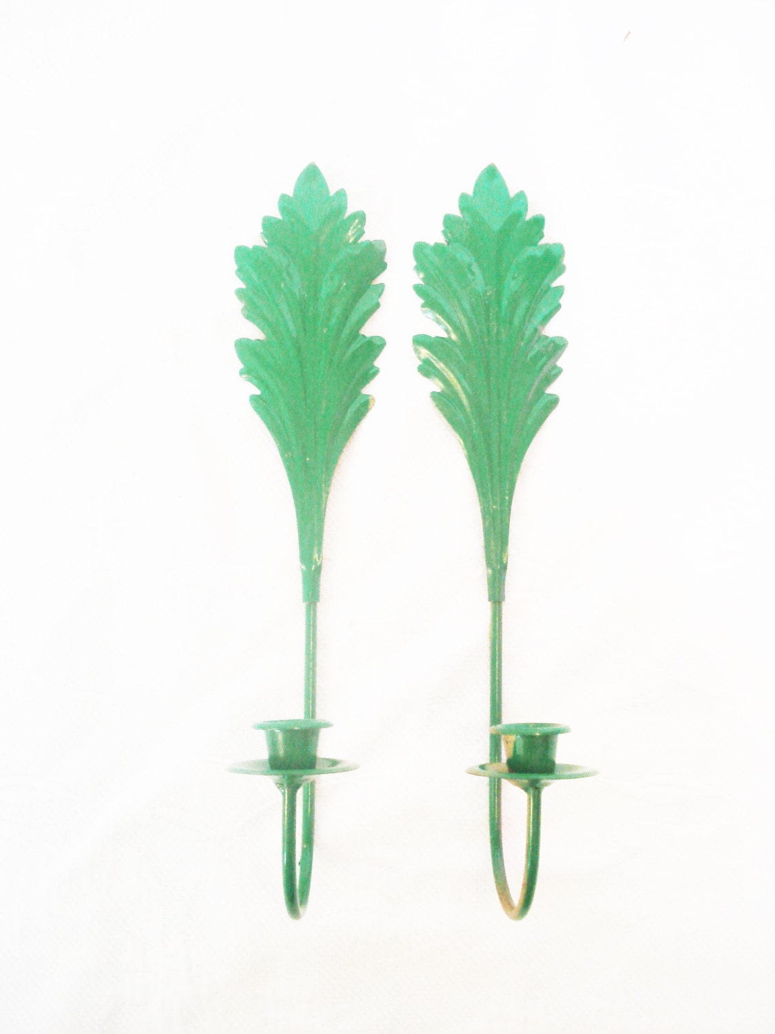 Wall Sconces For Greenery : Green Wall Sconces vintage wall candle holders by RococoDecor