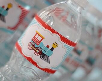 INSTANT DOWNLOAD - DIY printable water bottle wrappers- choo choo train