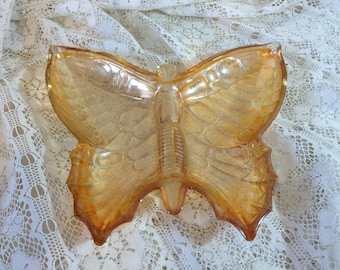 Carnival Glass Butterfly Candy Dish