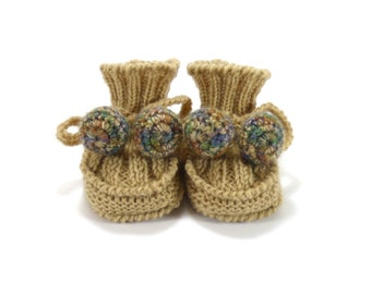 Hand Knitted Baby Booties - Beige, 0 - 6 months