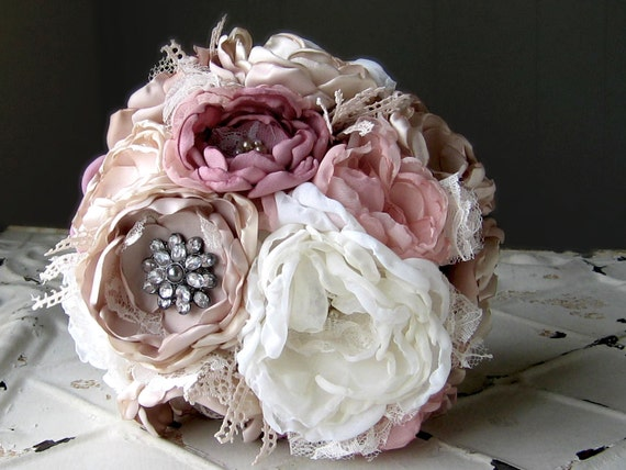 Custom Listing for CATHERINE. Fabric Bridal Bouquet . Vintage Wedding . Fabric Flower