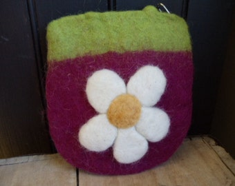 Raspberry and Lime Green Wool Coin Purse with White and Yellow Flowers Needle Felted
