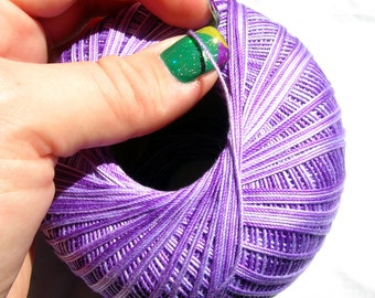 Crochet Yarn 100% merserised gassed Cotton. Hypoallergenic. Multicolor in shades of purple