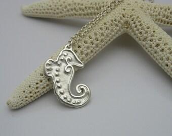 Seahorse Necklace, Silver Seahorse Necklace, Handmade Silver Seahorse, Silver Necklace, Beach Lover's Necklace, Sea Horse Necklace