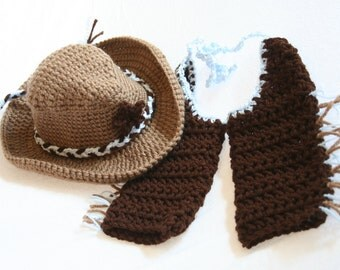 PDF DIGITAL PATTERN:Baby Cowboy Costume Pattern, Baby Cowboy Hat Pattern, Crochet Baby Cowboy Pattern, Brown Cowboy Costume,Crochet Cowboy