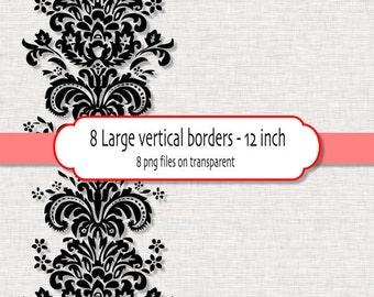 Large vertical borders in black damask- Digital clipart Border - PNG files - Digital clipart border INSTANT DOWNLOAD 425