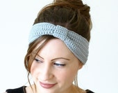 Crochet turban headband in light gray