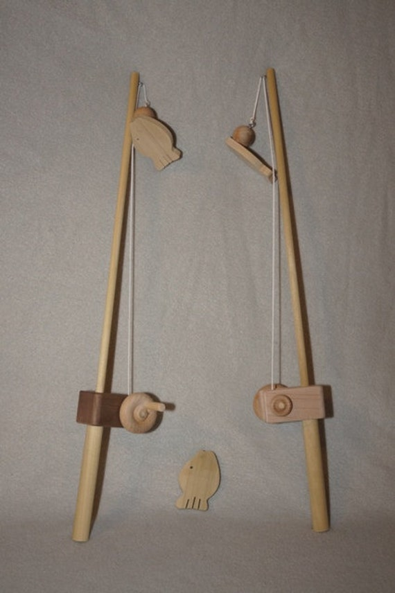 Organic wooden toy fishing pole for Wooden fishing pole