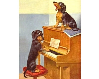 2 Dachshunds SINGING & Playing PIANO Antique Art Print  MAGNET