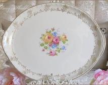 Charming Vintage CROOKSVILLE ROSES PLATTER, Pink Roses, Cottage Chic