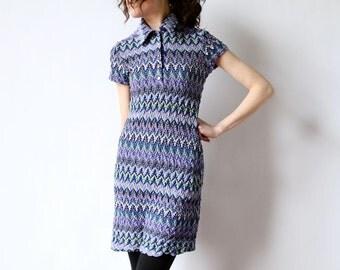 90s Grunge Stripe Mini Dress, ZigZag Jersey Knit Babydoll nerd hipster short sleeve Club Kid jewel tone Missoni style tee shirtdress