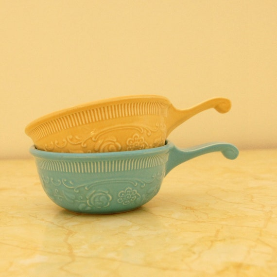 Oven Serve Bowls: Turquoise & Beige Taylor Smith Taylor Vintage Soup, Handled Bakers