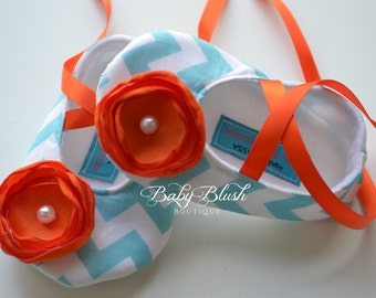 Aqua Chevron Soft Ballerina Slippers Baby Booties with Orange  Flowers and Ribbon Ties