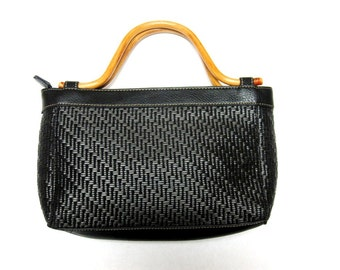 Black Purse Handbag Woven Bentwood Handle