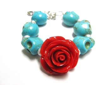 Sugar Skull Bracelet Day of the Dead Strand Turquoise Blue Red Rose
