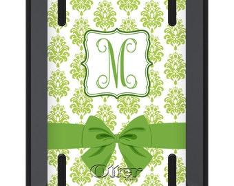 iPad Mini OTTERBOX DEFENDER - Lime Green Ribbon DAMASK - Monogrammed iPad Mini 2 3 Case - Custom iPad mini 3 Case - Personalized