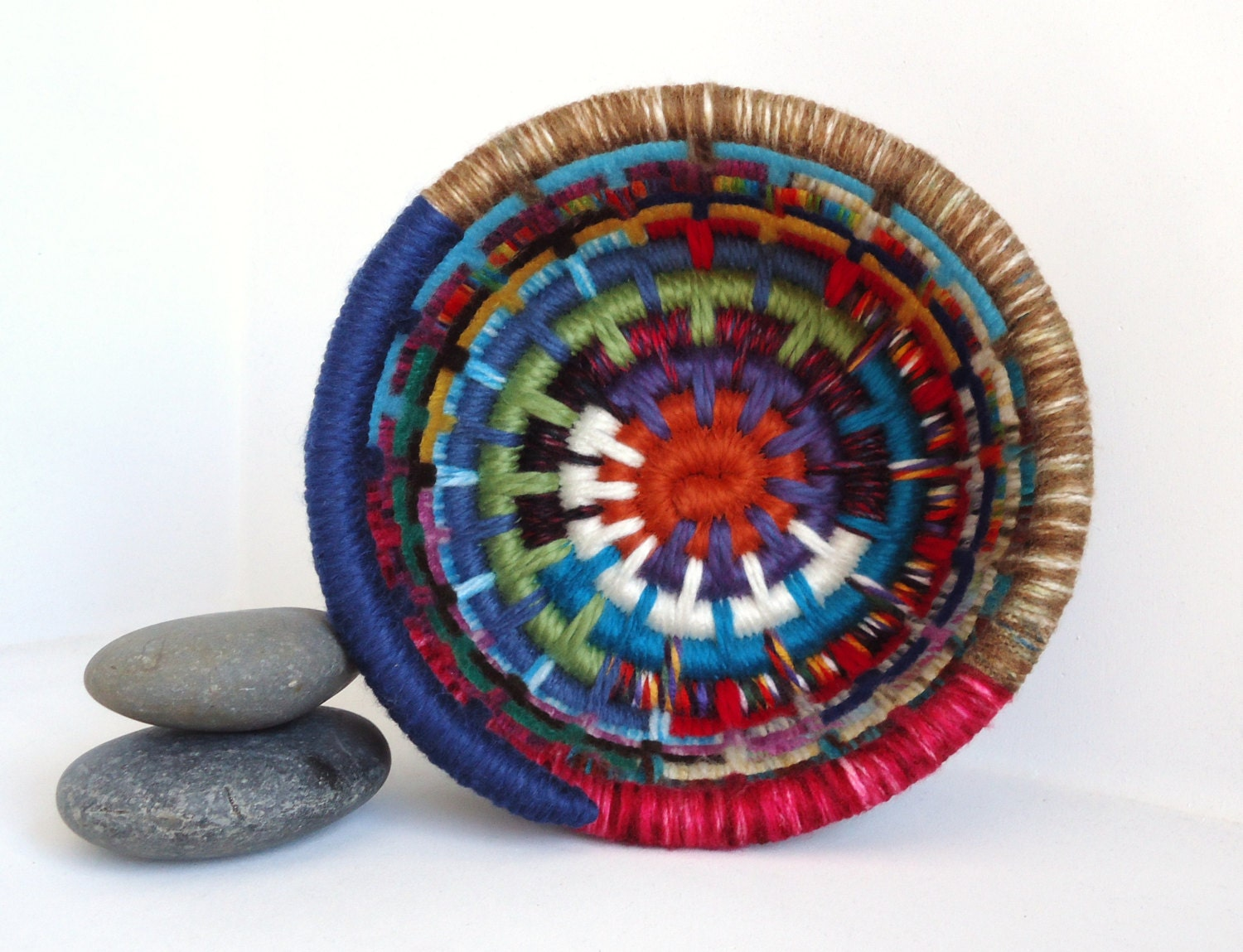 Coil Basket Weaving Patterns : Yarn coiled basket multicolored storage by jcstars