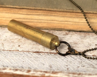 Brass Capsule for Keepsake- Steampunk  Vintage Accent by Coughing Cow & Chieckn