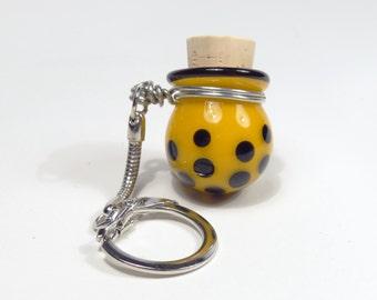 Tiny Glass Keychain Jar - Yellow Spotted