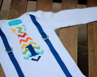 First Birthday Shirt Rainbow Chevron Tie and Suspenders Primary Colors Little Man