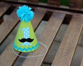 First Birthday Hat Mustache Lime Green Aqua Dots and Black