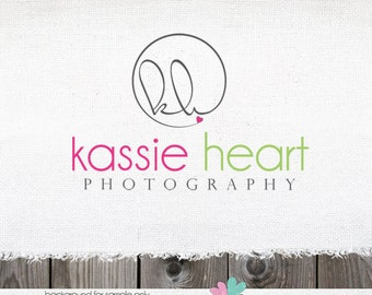 Custom Premade Photography Logo - Circle and Initials Logo with Heart and Watermark Design Name Text Logo
