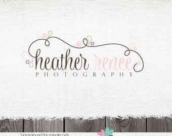 Photography Logo - Premade Floral Swirls Logo and Watermark Design Name Text Logo