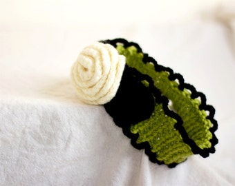 Rose Headband in White, Lime Green and Black, Romantic Rose Hair Accessories