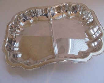 Vintage Silverplated Divided Dish--1960 Vegetable Dish
