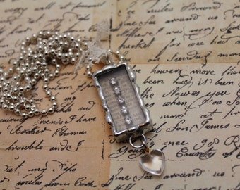 Rhinestone Silver Solder Box Necklace