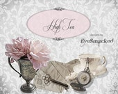Esty Banner set ROSE Tea Linen Damask six piece shop front etsy design