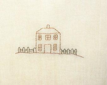 Flour Sack Tea Towel Original Design Kitchen Tea Stained Dish Towel Primitive Folk Art Design