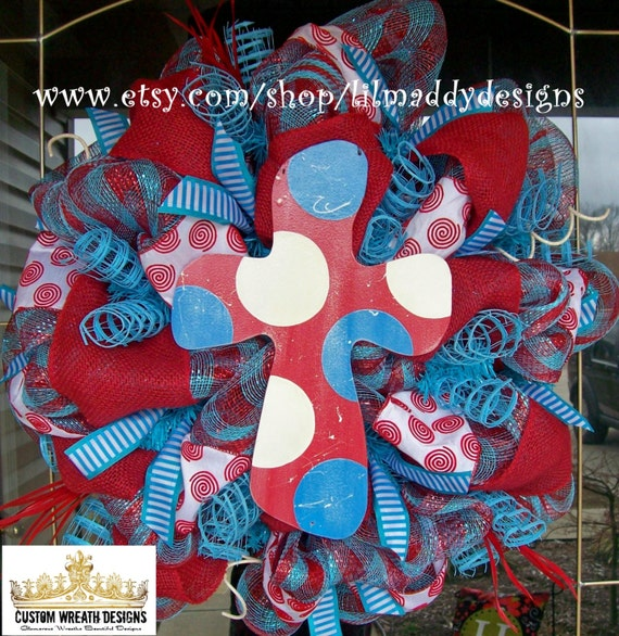 Red and Turquoise Cross Mesh Wreath