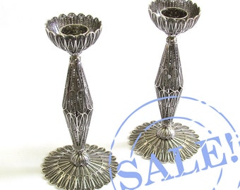 SALE 15% OFF Candlesticks, Sterling Silver Filigree Candles Holder, bat mitzva, wedding, Holiday Gift  Judaica - Free Express Shipping ID717
