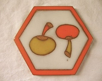 Vintage Texeramics Clay Tile Trivet Orange Yellow Mushrooms Texas Quarry Yin Yang