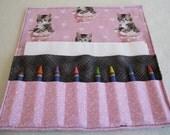 Kitten crayon roll hearts crayon wallet holder case stocking stuffer pink grey gray Valentine gift