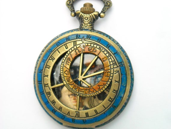 """Doctor Who Pocket Watch Necklace """"Traveling with the Tenth Doctor"""""""