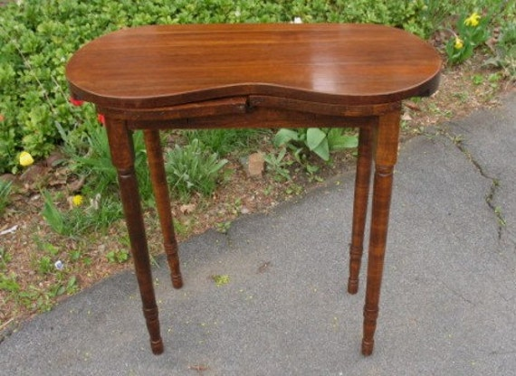 Vintage Wood Kidney Shaped Vanity Table Dressing Table Sewing