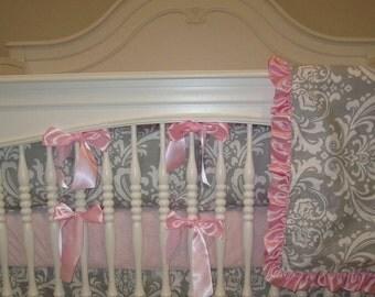Gray Damask- 4 pc  Set Crib Bedding