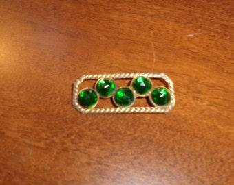 vintage pin brooch green rhinestones