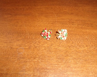 vintage clip on earrings candy canes