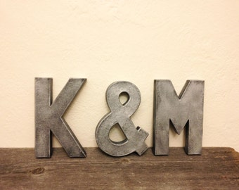 """3 Faux Zinc Block Letters - Monogram or Initials - 8"""""""